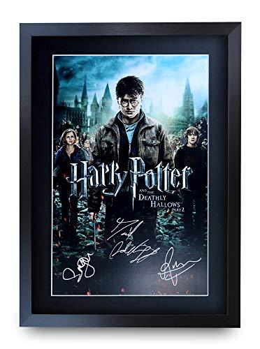 HWC Trading Harry Potter A3 Enmarcado Regalo De Visualización De Fotos De Impresión De Imagen Impresa Autógrafo Firmado por Daniel Radcliffe Emma Watson Rupert Grint Los Aficionados Al Cine