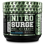 NITROSURGE Pre Workout Supplement - Energy Booster, Instant Strength Gains, Clear Focus, & Intense Pumps - Nitric Oxide Booster & Powerful Preworkout Energy Powder - 30 Servings, Blue Raspberry