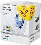 Bosch 12x Staubsaugerbeutel Typ P und 3x Microfilter MegaAir SuperTEX BBZ123FP, 99,9% Feinstaubfilterung, hohe Reinigungsleistung, passend für Reihen BSG und VS08