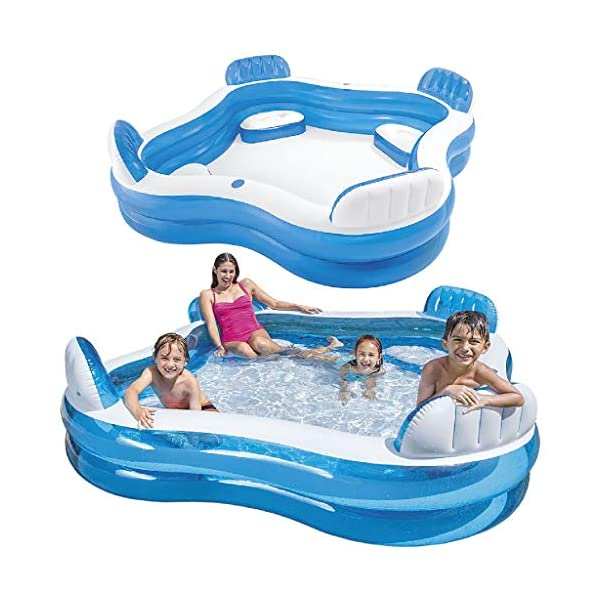 Intex Swim Center Family Lounge Inflatable Pool, 90″ X 90″ X 26″, for Ages 3+