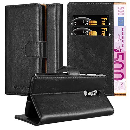 Cadorabo Hülle für ZTE AXON 7 in Graphit SCHWARZ – Handyhülle mit Magnetverschluss, Standfunktion & Kartenfach – Hülle Cover Schutzhülle Etui Tasche Book Klapp Style