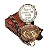 """Hanzla Collection Brass Compass Engraved with """"Follow red Arrow Because This Shows The Way to me Directional Camping Compass Engraved Pocket Gift, Confirmation Gift"""