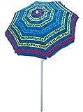 Rio Brands Paradise Awaits Palms Stripe Beach Umbrella with Sun Block, Blue Stripe
