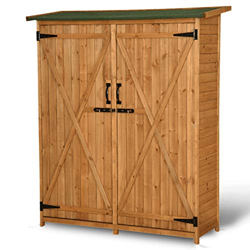 small garden storage sheds Mcombo Outdoor Storage Cabinet, Wood Garden Shed, Outside Tool Shed, Vertical Organizer Cabinet with Double Lockable Doors for Outside, Garden and Yard 1400