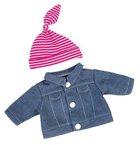 Bayer Design 83054AA Kleidung für Puppen Circa 30 cm, Jeansjacke mit Mütze, Puppenzubehör, Jeans, rosa