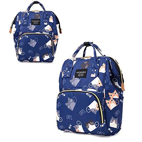 Baby luiertas rugzak, grote capaciteit multifunctioneel, cartoon schattig kat patroon, reizen rugzak fles tas (donkerblauw)