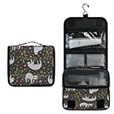 AUUXVA Travel Hanging Toiletry Bag Cute Animal Flower Sloth Pattern Portable Cosmetic Make up Bag case Organizer Wash Gargle Bag Waterproof with Hook for Women Men for Cosmetics and Toilet Accessories