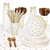 Decorlife Party Plates and Napkins Sets for 50, 404pcs Includes 4 Tablecloths, White and Gold Paper Plates, Napkins, Cutlery, Cups, Straws, Gold Plates and Napkins Party Supplies for Birthday