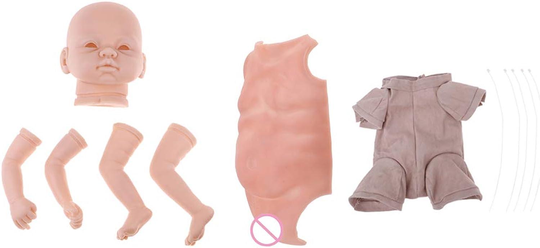 MagiDeal DIY Unpainted Reborn Doll Kits Soft Vinyl Newborn Baby Model Set 22 Inch