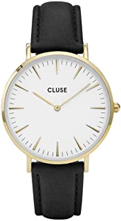 CLUSE CL18401 La Bohme Gold Black Analog Display Quartz Watch, Black Leather Band, Round 38mm Case