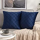 <span class='highlight'><span class='highlight'>MIULEE</span></span> Pack of 2 Velvet Cushion Cover Square Pattern Decorative Throw Pillow Cover Super Soft for Living Room Bedroom Sofa Navy 45 x 45 cm 18 x 18 Inch