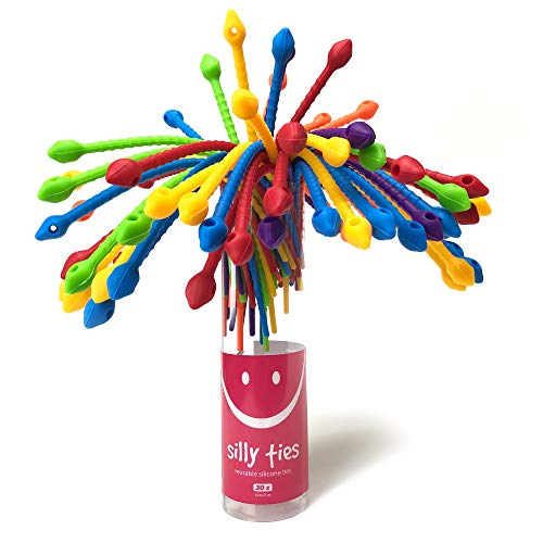 Reusable Silicone Cable Twist Ties Organizer Perfect for Cord Management, Electronics Wire Strips, Kitchen, Garden Rubber Wraps and Gear Zip Tie Straps (7 inches), 30 Pack-6 Bright Colors