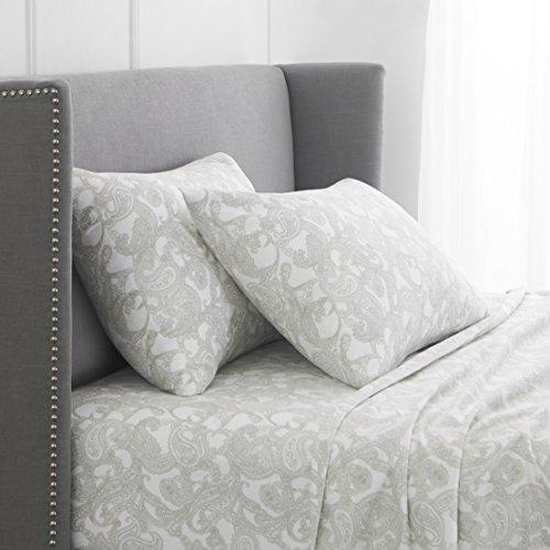 Pinzon 170 Gram Flannel Cotton Bed Sheet Set, Full, Sage Green Paisley