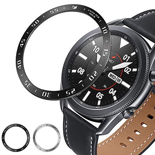 Syxinn Lünette Ring Kompatibel für Samsung Galaxy Watch 3 45mm Edelstahl Lünette Styling Haftende Abdeckung Anti Scratch & Collision Protection Bezel Ring für Galaxy Watch 3 45mm