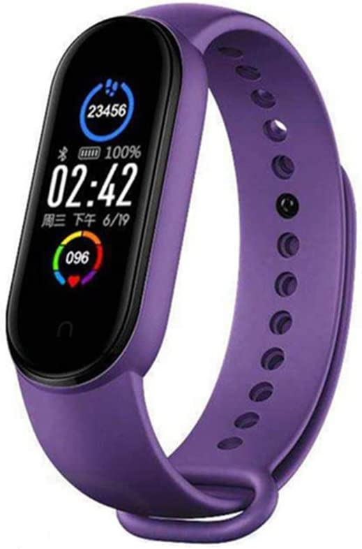 M5 Pulsera Inteligente para Reloj (Morado/Negro/Rojo/Rosa/Azul), con Detector de Calorías Frecuencia Cardíaca Bluetooth Monitor de Sueño, Monitor de Ejercicio Natación, IP67 para Hombres y Mujeres