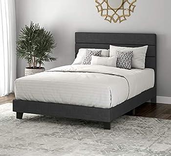 SHA CERLIN Full Size Bed Frame Upholstered Platform Bed Frame with Headboard Strong Wood Slats Support Mattress Foundation No Box Spring Needed Dark Grey