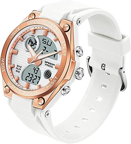 QHG Reloj de Cuarzo para Mujer Reloj Deportivo a Prueba de Agua a Prueba de Agua para Mujer Reloj de Pulsera de Moda Digitaces Analógicos Muchachas Relojes de Pulsera de niñas (Color : White)