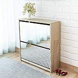 Zapatero con espejo para entrada, 63 x 17 x 67 cm, zapatero con 2 puertas abatibles, para aproximadamente 6 – 8 pares de zapatos – Color roble