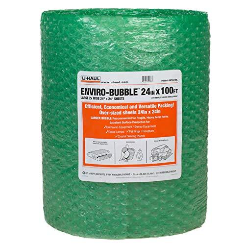 U-Haul Enviro-Bubble - Bulk Roll 100' of Large Bubble Padding & Protection for Fragile Decor, Dishes, Glassware, Frames, More