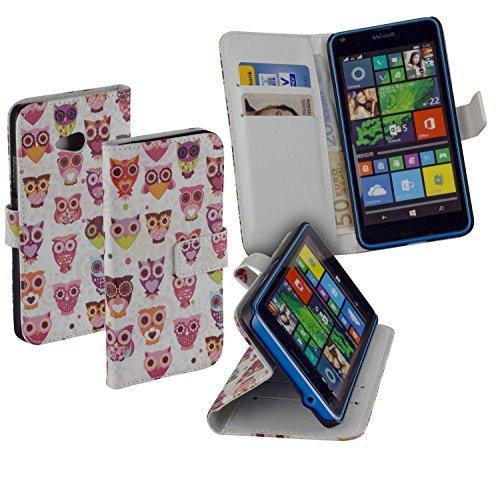 yayago Deluxe Tasche Eule Book Style Hülle für Microsoft Lumia 640/640 Dual / 640 LTE / 640 LTE Dual Weiß