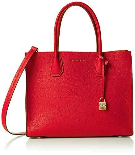 Michael Kors Mercer, Bolso Totes para Mujer, Rojo (Bright Red), 12.7x21.6x23.2 Centimeters...