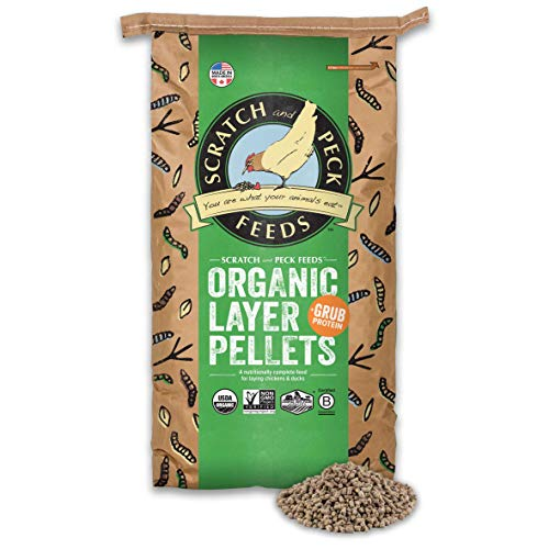 Scratch and Peck Feeds Naturally Free Organic Chicken Feed Layer Pellets with Grub Protein - 25-lbs. - Non-GMO Project Verified, USDA Organic - 2024-25