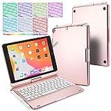 BECEMURU Funda para Teclado iPad 10.2 7 Colores Retroiluminación Teclado Bluetooth Soporte Giratorio de 360 ° Funda de aleación de Aluminio y ABS Funda para iPad 10.2 (Modelo 2019/2020) (Oro Rosa)