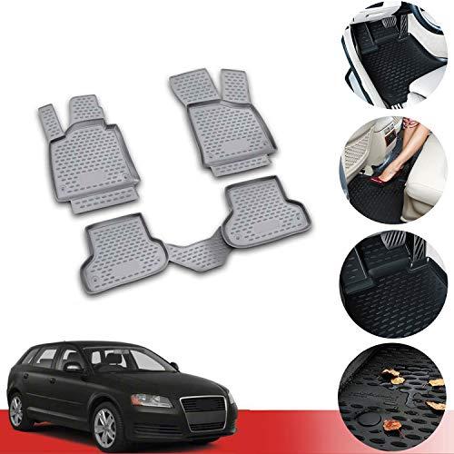 OMAC Allwetter Auto Fußmatten Automatten Kompatibel mit Audi A3 2007-2012 3D Passform Hoher Rand Gummimatten Allwetterfussmatten Grau 4 teilig