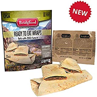 Bridgford BBQ Pork Wrap MRE - Camping or Hiking Snack Survival Food Ready to Eat Meals - 3 Pack