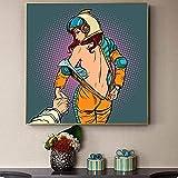 SXXRZA Cuadro de Pared 80x80 cm Mujeres Modernas sin Marco siguen al Astronauta Desnudo Carteles e Impresiones Cuadros de Arte de Pared para la decoración de la Sala de Estar