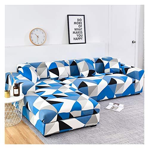 ZIJ Cubierta de sofá Cubierta de sofá geométrico Cubierta de sofá elástica para Sala de Estar Mascotas Corner L Caja con Forma de sofá Longue Sofá 1pc (Color : Color 17, Talla : 3seater and 3seater)
