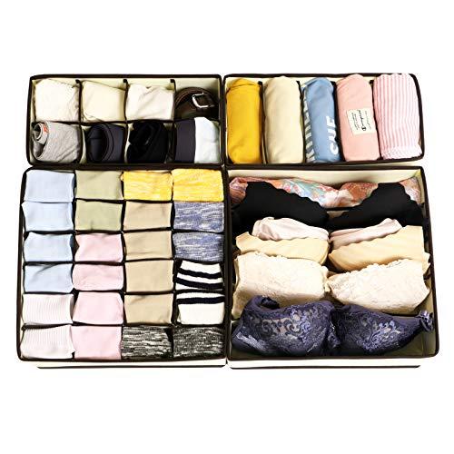 CASATOCA Unterwäsche Organizer, Aufbewahrungsbox für Unterwäsche, Faltbare Schubladen Organizer, Schrank Socken, BHS und Krawatten, Vliesstoff mit Trennwänden, 4er-Set, Beige