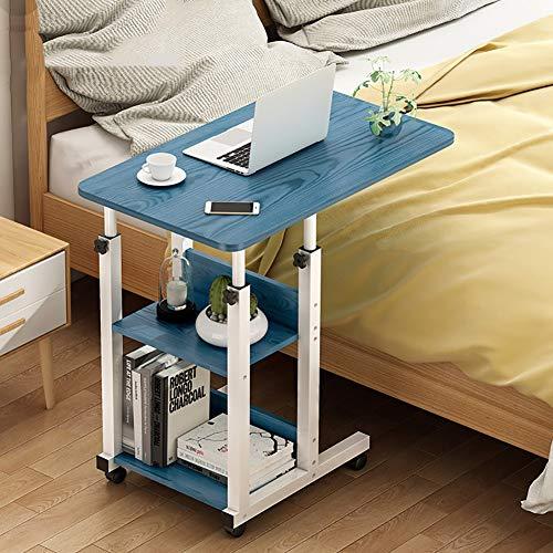 VIY Laptoptisch höhenverstellbar, Laptopständer Holz, mit Rollen, drehbar,Blau
