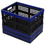 Gloreen 16 Quart Folding Crate Basket, Collapsible Storage Milk Crates, 3 Packs
