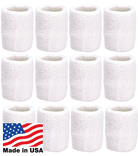 Unique Sports Wristbands/Sweatbands Pack of 12 (6 Pair) White