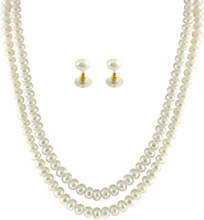 Trendy Souk Women's Two String AAA Real Fresh Water Hyderabadi Pearls Necklace Set