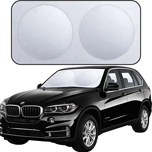 XBRN Car Windshield Sun Shade for Car,2 Piece Foldable Car Front Window Sunshade,Keep Your Vehicle Cool Fits Sedans SUV Truck Windshields-X-Large