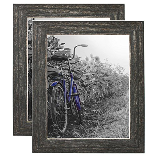 Americanflat 8x10 Rustic Brown Picture Frame with Polished Glass - Horizontal and Vertical Formats for Wall and Tabletop - Pack of 2 (PS0810BR2PK)