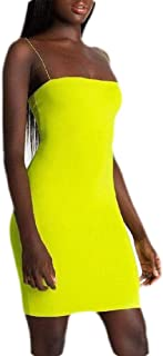 MU2M Women Spaghetti Strap Solid Color Bodycon Sexy Club Mini Dress