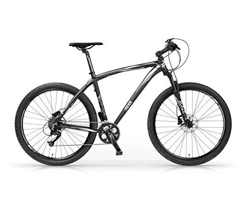 Bicicleta MBM Twentyseven.5 de aluminio, suspensión delantera, frenos de disco, 27.5', 27 velocidades (Negro Mate / Blanco, L (H52))