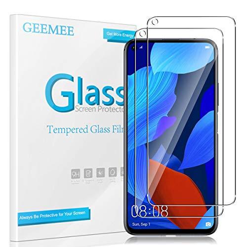 GEEMEE für Huawei Nova 5T/Huawei Honor 20 Pro Panzerglas Schutzfolie, 9H Filmhärte Gehärtetem Schutzglas, Hohe Empfindlichkeit Panzerglas Displayschutzfolie (Transparent)