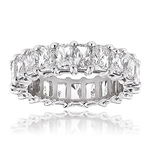 Anillo de compromiso con diamantes transparentes D/VVS1 de corte radiante de 6,6 quilates chapado en oro blanco de 14 quilates, ancho de 1/16 en 5 mm