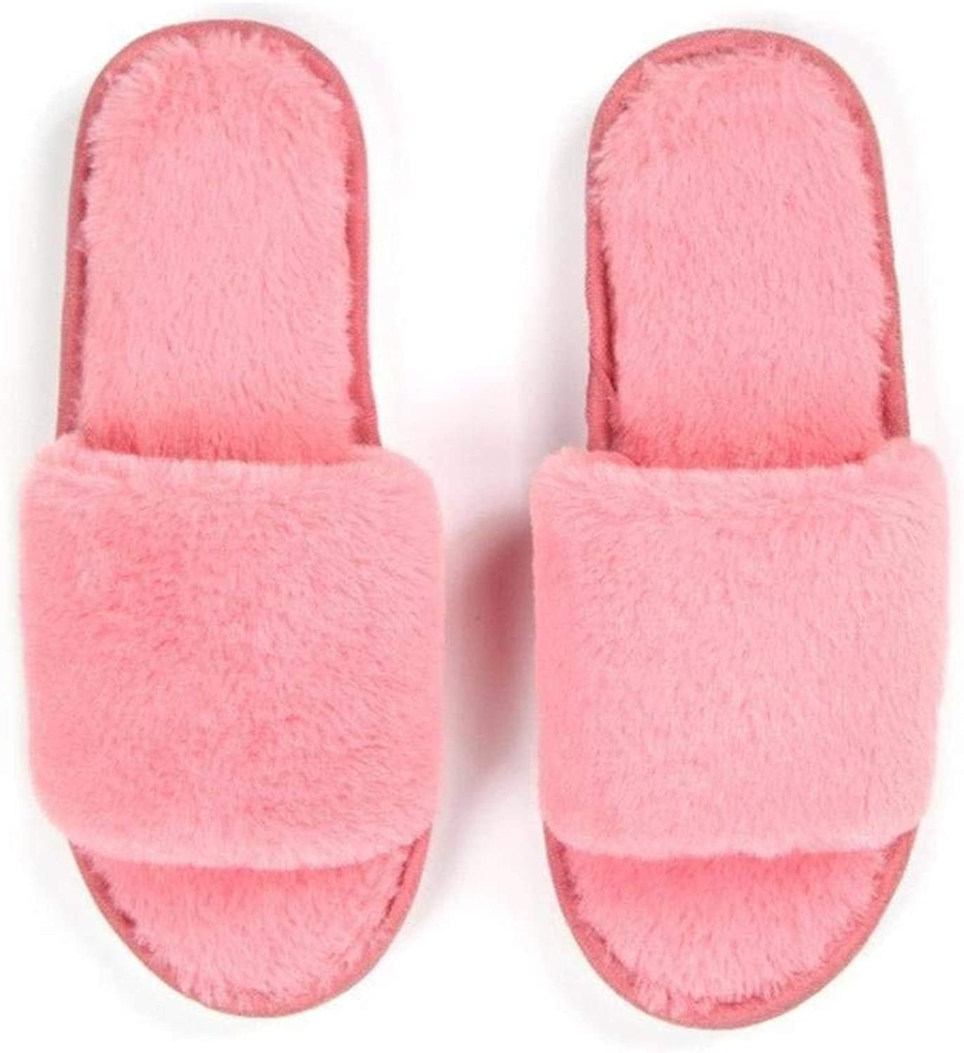 So8ooa Lady Slippers Ladies Wool Slippers Home Interior Leisure Plat Form Keep Warm Slippers for Women Black Pink Purple Slippers