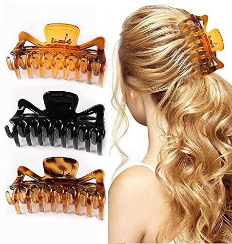 Große Haarklammer, 3 Stück Kunststoff Klaue Clips Vintage Einfache Klaue Clips Rutschfest Haarspangen, Pferdeschwanz-Halter, Haar-Accessoires für Frauen Damen Mädchen