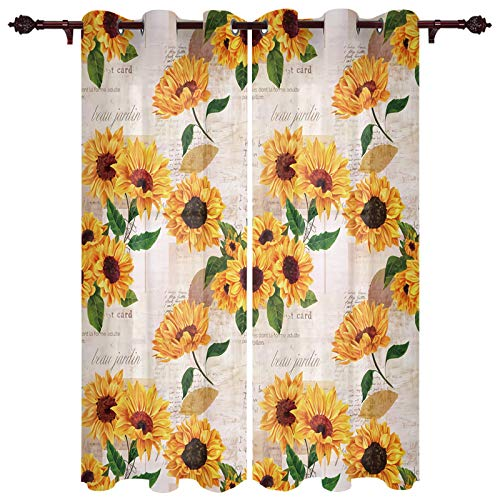 "USOPHIA Grommet Semi Sheer Window Treatment,Sunflower with Old Newspaper Living Room Bedroom Window Drapes 2 Panel Set, 52"" x 72"""