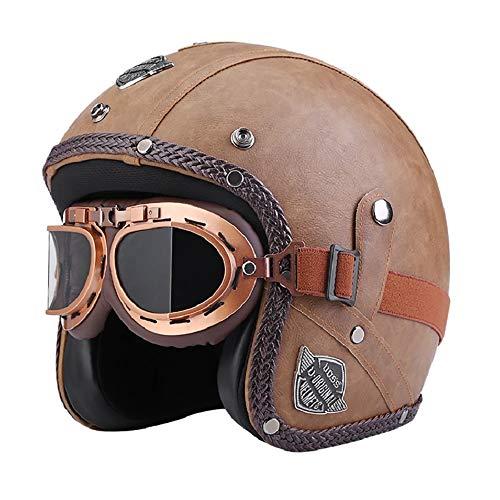 Motorradhalbhelme Unisex-PU-Lederhelme 3//4 Motorrad-Chopper-Fahrradhelm Offener Vintage-Motorradhelm Mit Brillenmaske Hellbraun