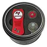 Team Golf NFL Tampa Bay Buccaneers Gift Set Switchfix Divot Tool, Cap Clip, & 2 Double-Sided Enamel Ball Markers, Patented Design, Less Damage to Greens, Switchblade Mechanism