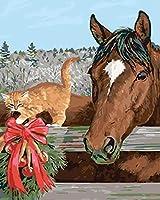 油絵 数字キットによる絵画馬の子猫デジタル絵画油絵 数字キットによる絵画手塗り DIY絵 デジタル油絵塗り絵 40x50cm (フレームレス)
