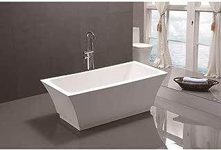 Vanity Art Freestanding Acrylic Bathtub | Modern Stand Alone Soaking Tub with Chrome Finish, UPC Certified, Slotted Overflow & Pop-up Drain - VA6817-L