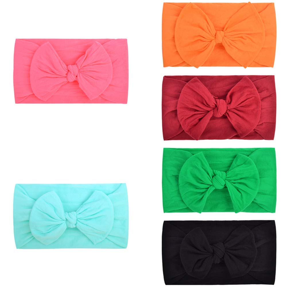 Bows Headbands For Baby Girls, IIS Newborn Infant Toddler Hairbands and Child Hair Accessories (Multicolored-1-6PCS)